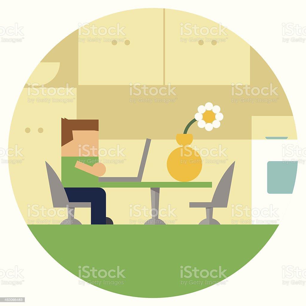 Kid on Laptop Homework at the Kitchen Table vector art illustration