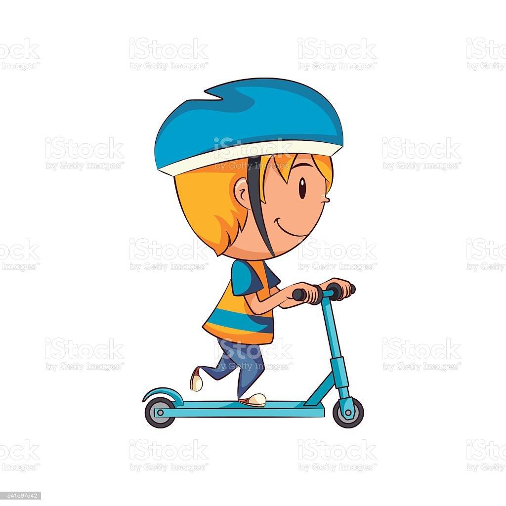Kid on scooter vector art illustration