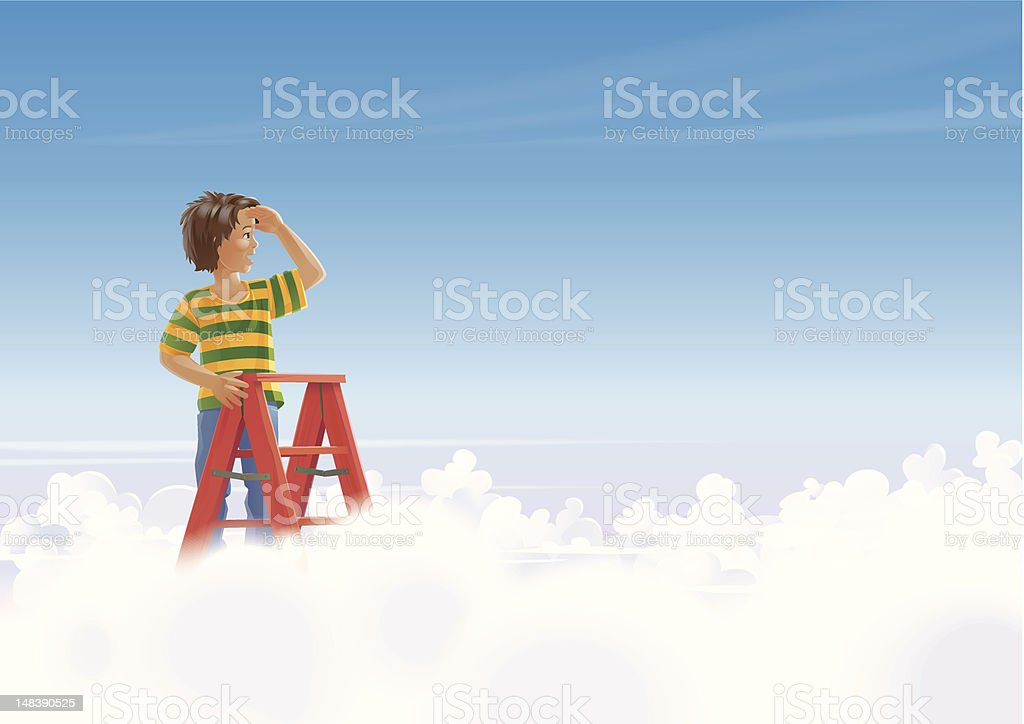 Kid on Stairs Looking over the Clouds vector art illustration