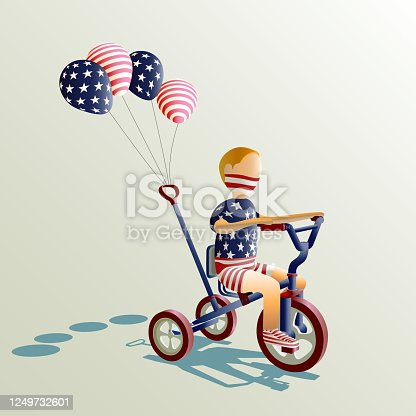 Vector illustration character of a boy celebrating USA 4th of July Independence Day. By riding three wheel bike, with four baloons attached.