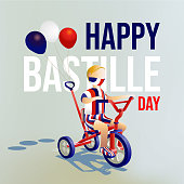 Vector illustration character of a boy wear protective mask, celebrating France Bastille day. By riding three wheel bike, with three baloons attached.