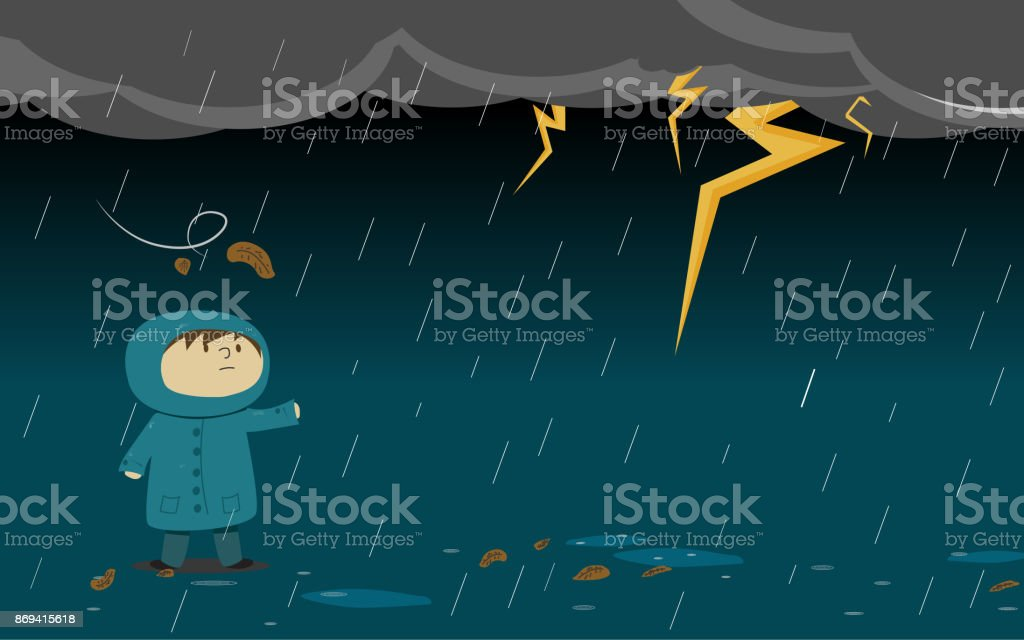 Kid Or A Guy Who Wear Rain Coat With Thumder Strom Stock Vector Art ...