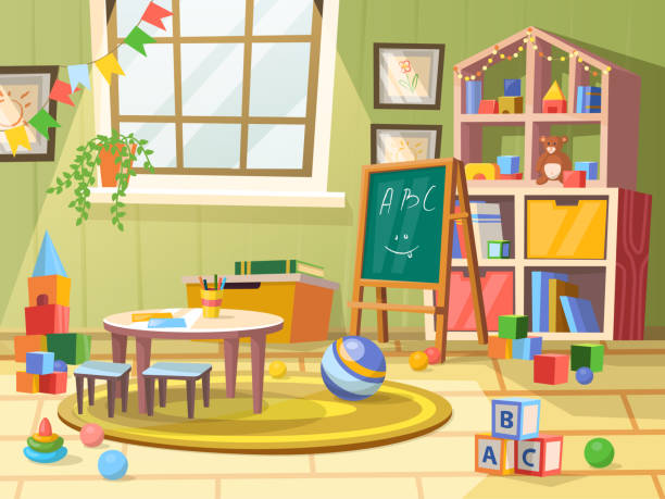 kind oder kinder, kinderzimmer für spielerziehung - schultischrenovierung stock-grafiken, -clipart, -cartoons und -symbole