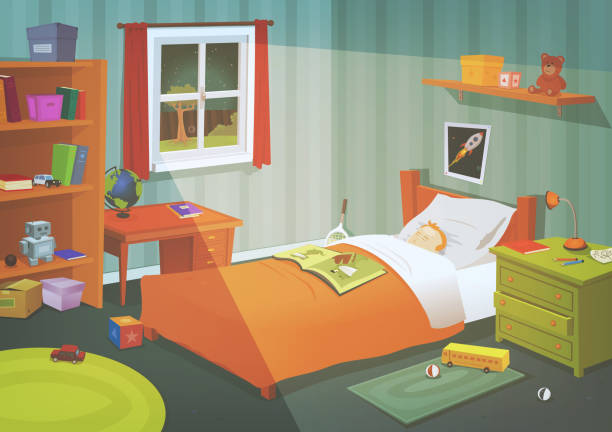 Kid Or Teenager Bedroom In The Moonlight Illustration of a cartoon kid or teenager bedroom with boy sleeping in the night, containing lifestyle elements, toys, bed, books, desk, bookshelf, and accessories in mess bedroom stock illustrations