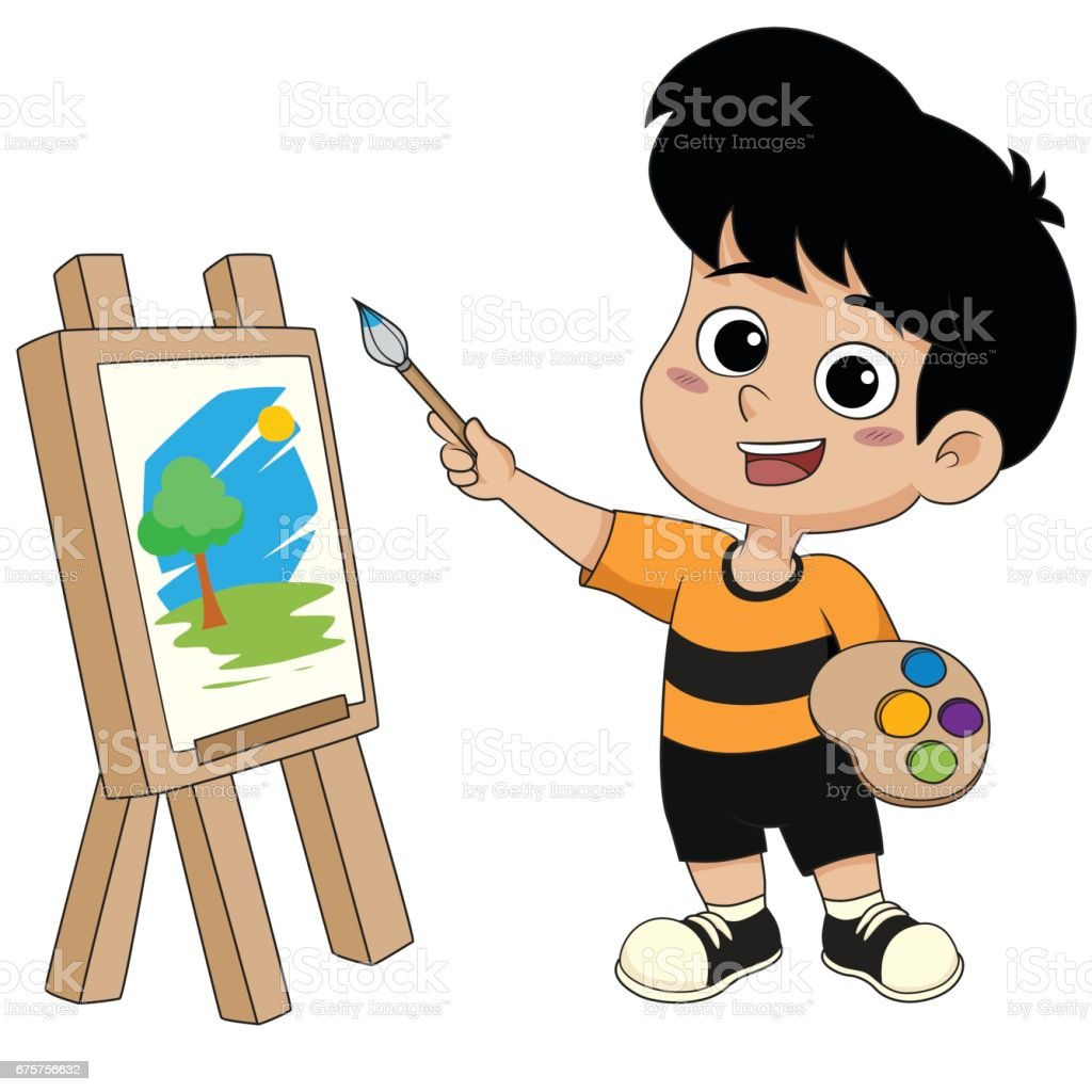 kid painting a picture. vector art illustration