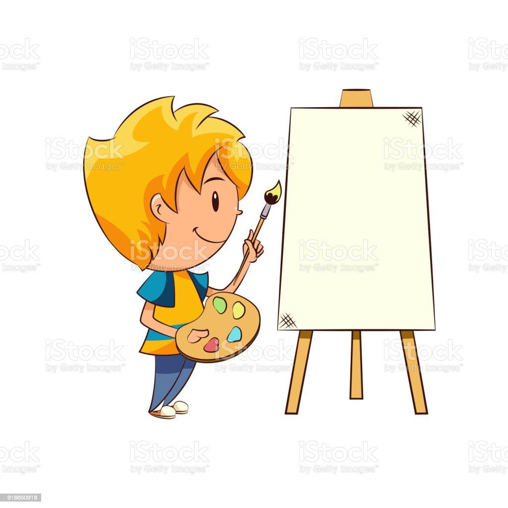 çocuk Boyama Boş Tuval Stok Vektör Sanatı Animasyon Karakternin