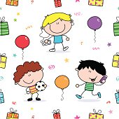 A cool kids, gifts and balloons seamless pattern.