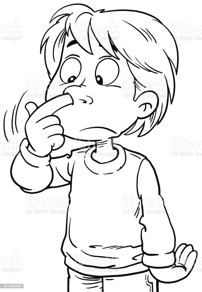 Kid Picks His Nose Stock Vector Art & More Images of Beauty ...