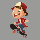 Kid play skateboard.Vertor and illustration.