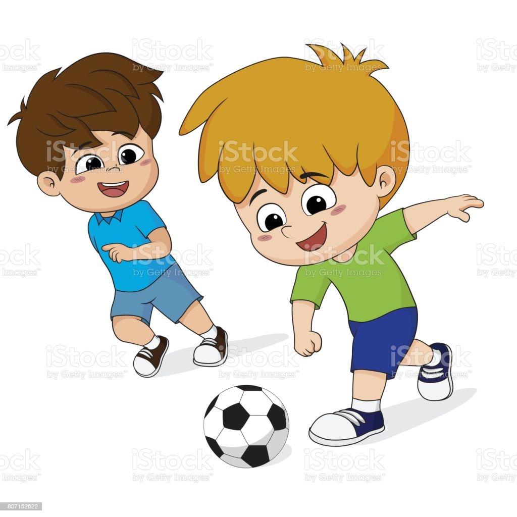 Kinder Spielen Fussball Mit Freunden Stock Vektor Art Und