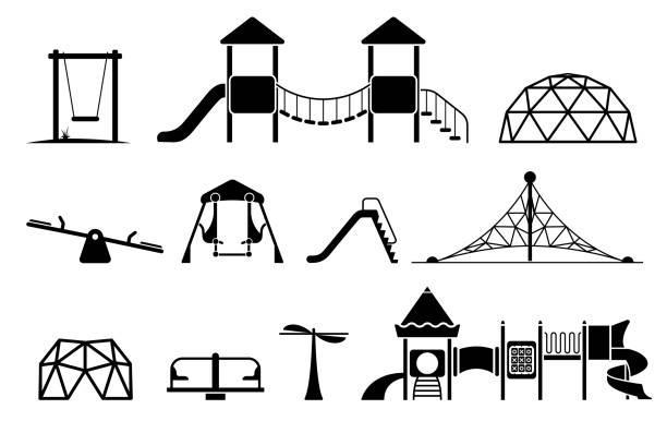 ilustrações de stock, clip art, desenhos animados e ícones de kid playground equipment icons. - balouço