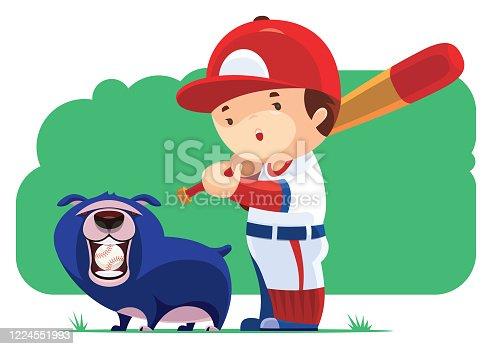 istock kid playing baseball with dog 1224551993