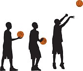 Kid Playing Basketball Silhouettes