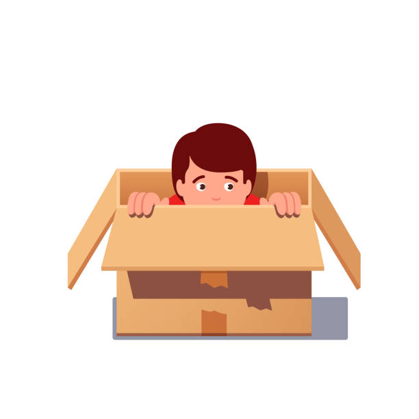 kid playing hide and seek, hiding in a cardboard box. flat isolated vector - child abuse stock illustrations