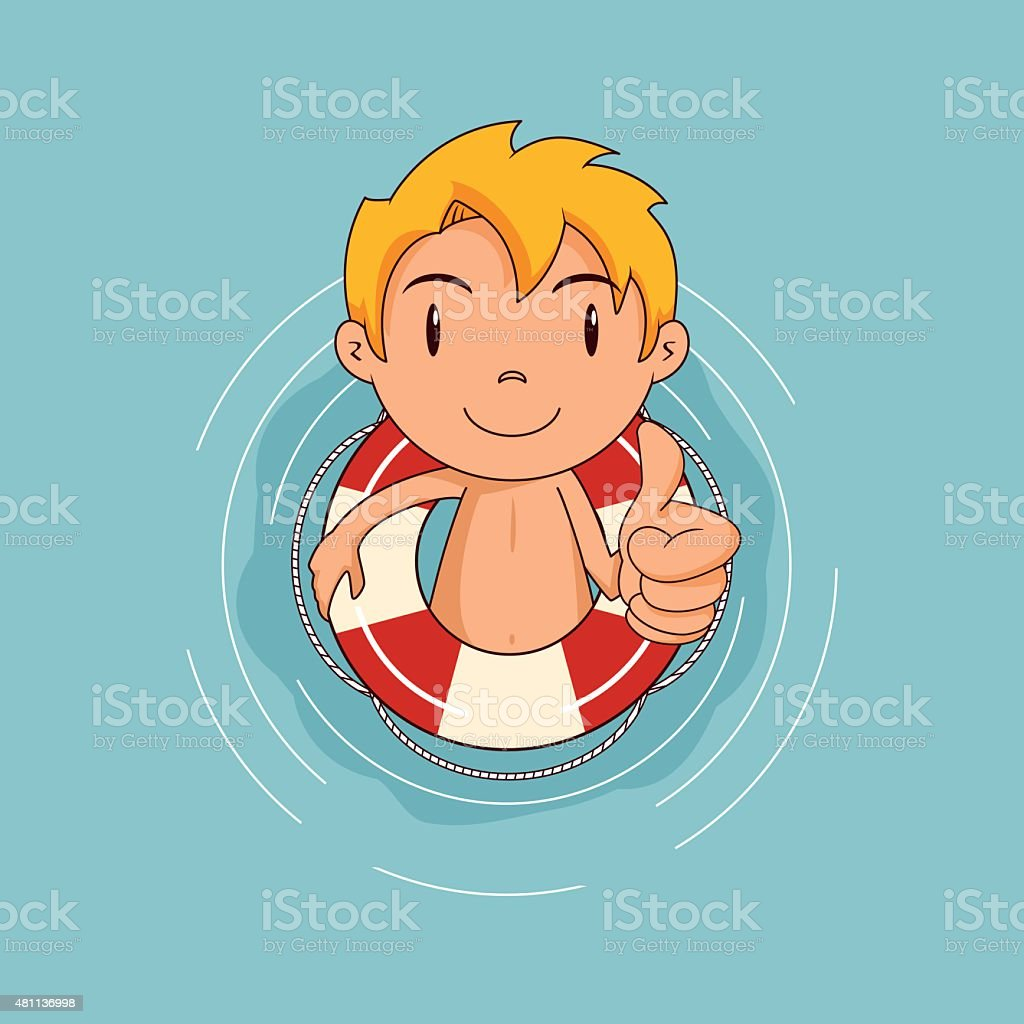Kid playing in water, lifebuoy vector art illustration