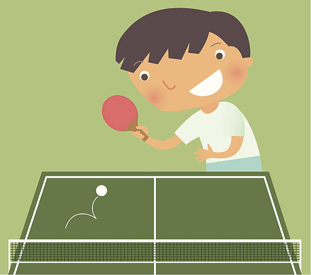 Kid playing ping pong Little boy playing ping pong. Zip contains AI and hi-res jpeg. ping pong table stock illustrations