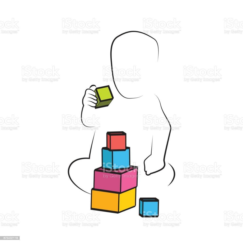 Ilustracion De Nino Jugando Juguetes Bloques Desarrollo Infantil Y