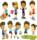 Kid playing various activiies