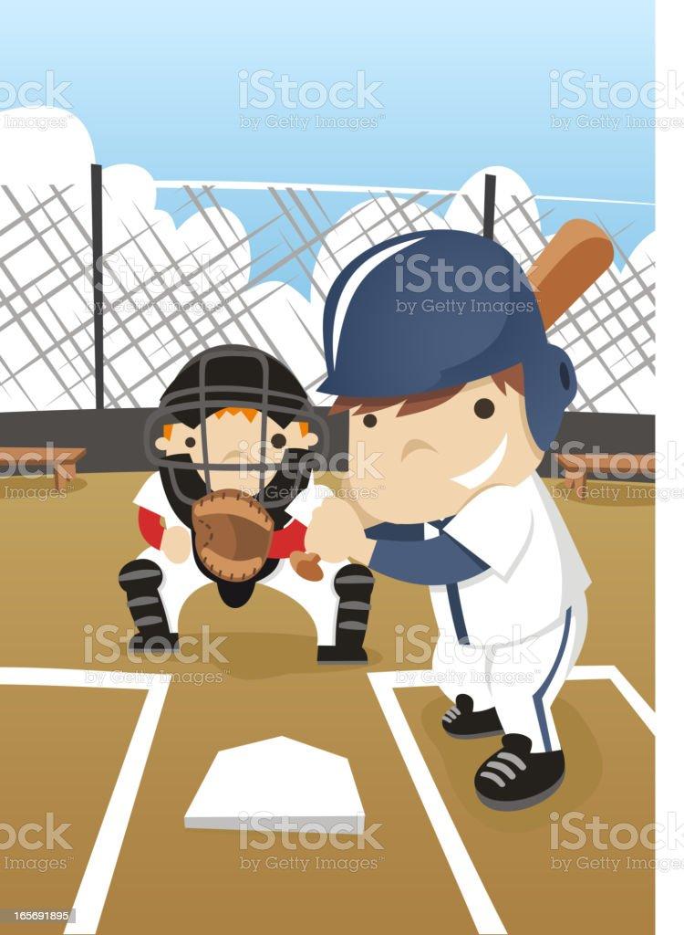 Kid plays baseball vector art illustration