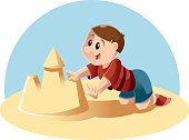 Kid plays in the sand