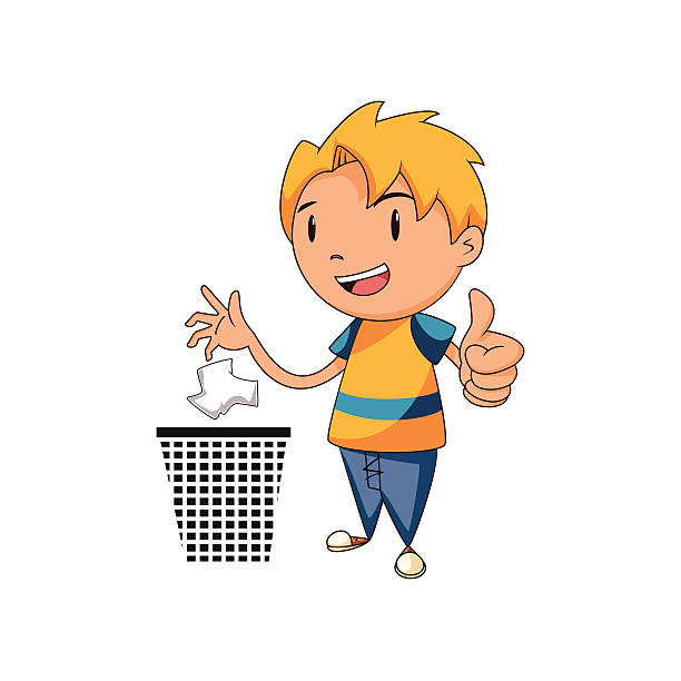 kid putting trash in its place - child throwing garbage stock illustrations, clip art, cartoons, & icons