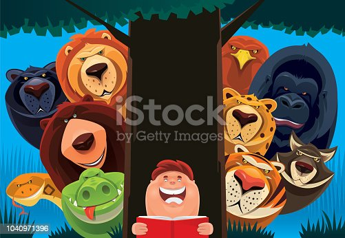 vector illustration of kid reading book with group of wild dangerous animals