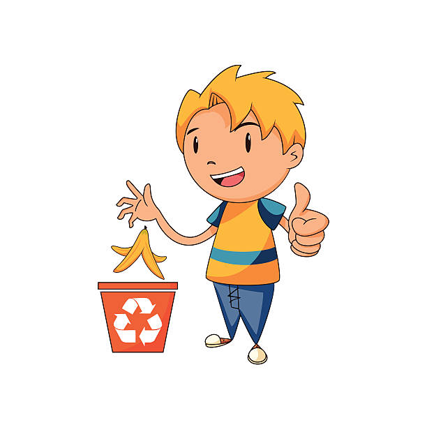 kid recycling organic waste - child throwing garbage stock illustrations, clip art, cartoons, & icons