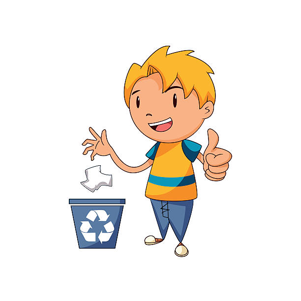 kid recycling paper - child throwing garbage stock illustrations, clip art, cartoons, & icons