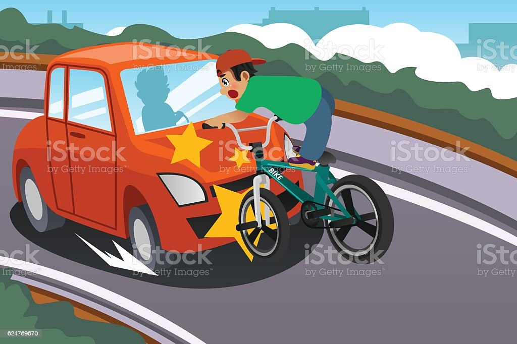 Kid Riding a Bicycle in an Accident with a Car vector art illustration