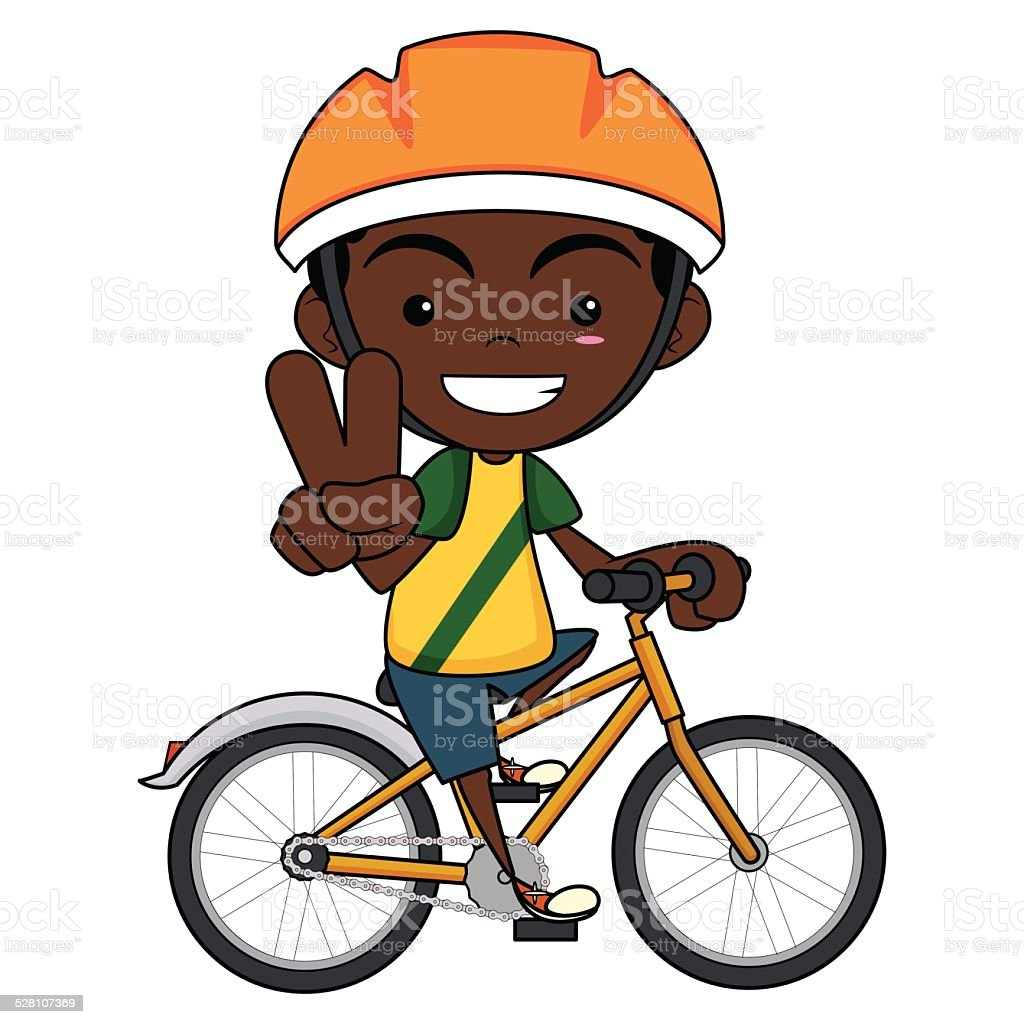 kid riding bike vector art illustration