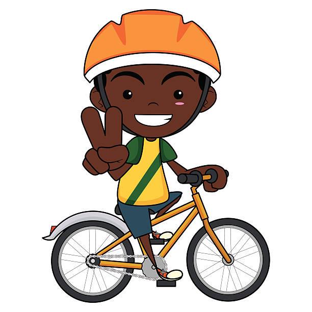 kid riding bike vector art illustration