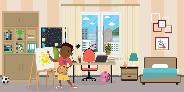 Kid room interior.African american male teen with easel,brush and paints