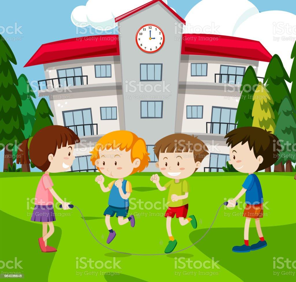 A Kid Rope Jumping at School - Royalty-free Activity stock vector