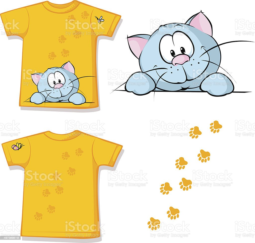 kid shirt with cute cat peeking printed royalty-free stock vector art