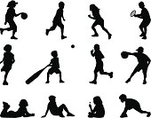 Outlines of children at play. Files included - ai (version 8 and CS3), eps (version 8) and high resolution JPEG