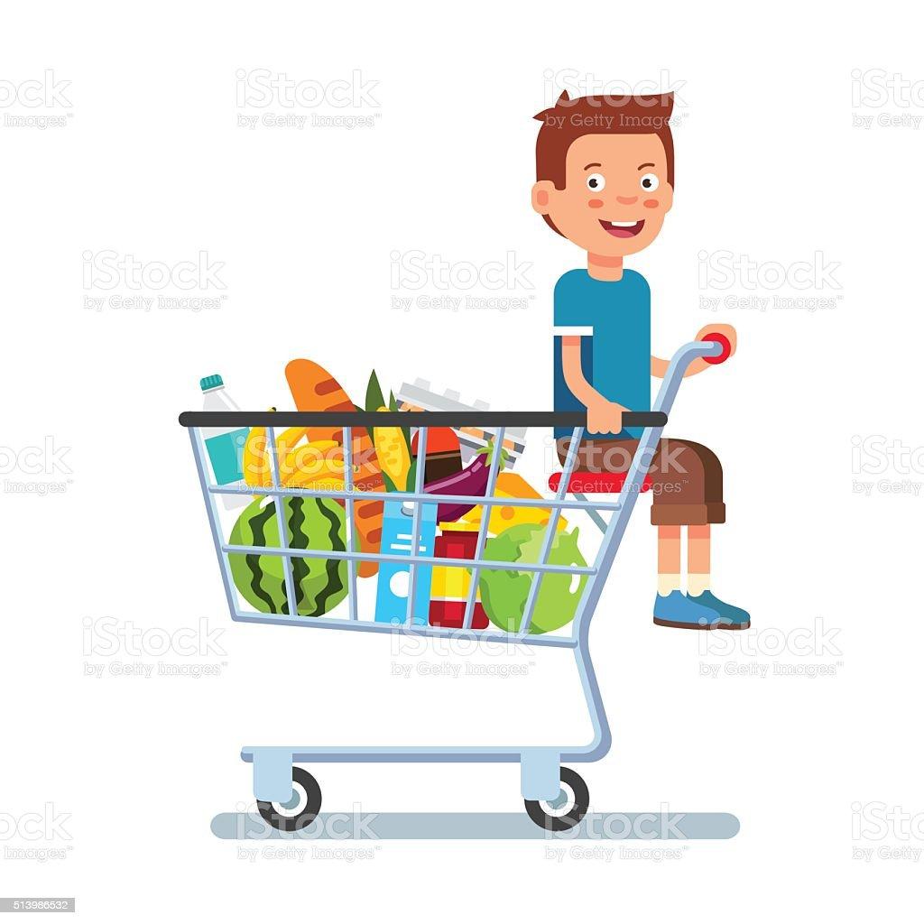 ca28cc4da64db5 Kind sitzt in einem Supermarkt-Einkaufswagen Lizenzfreies kind sitzt in  einem supermarkteinkaufswagen stock vektor art