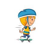 Kid skateboard ride