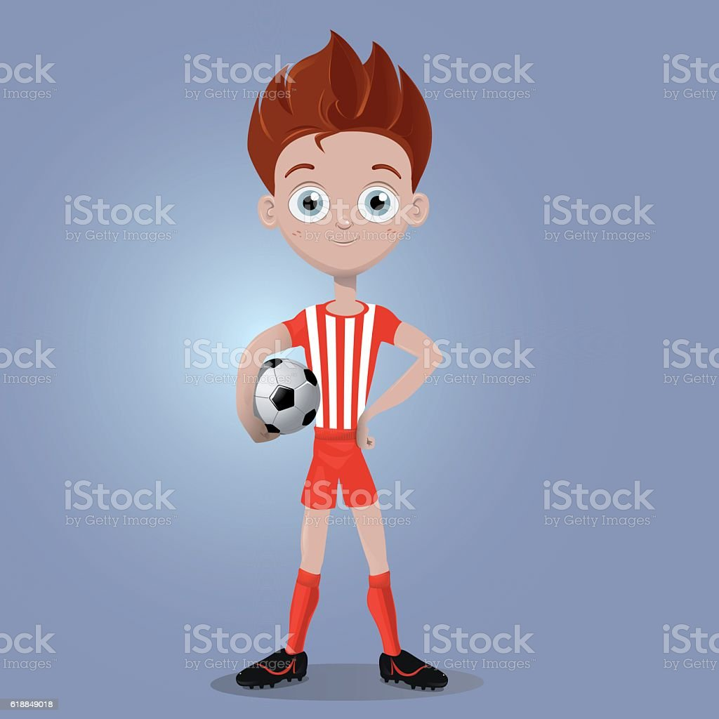 Kid smiling with soccer ball vector art illustration