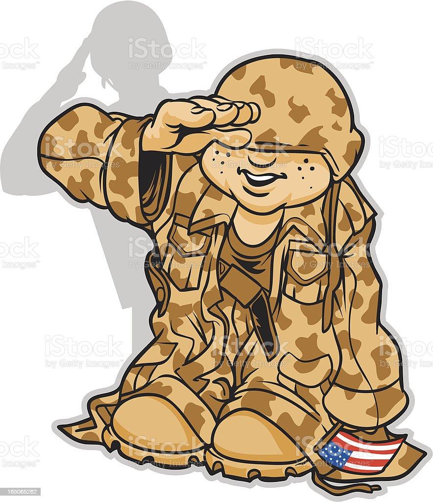Kid Soldier vector art illustration