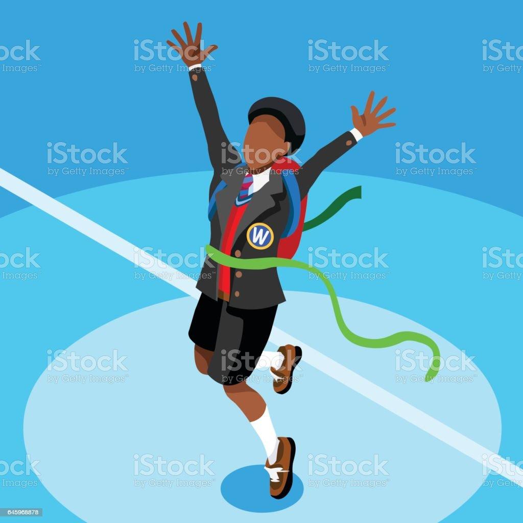 Kid Student College School Isometric Person Vector Illustration vector art illustration