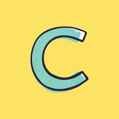 Kid style letter C logo hand-drawn with a marker with paint shift effect.