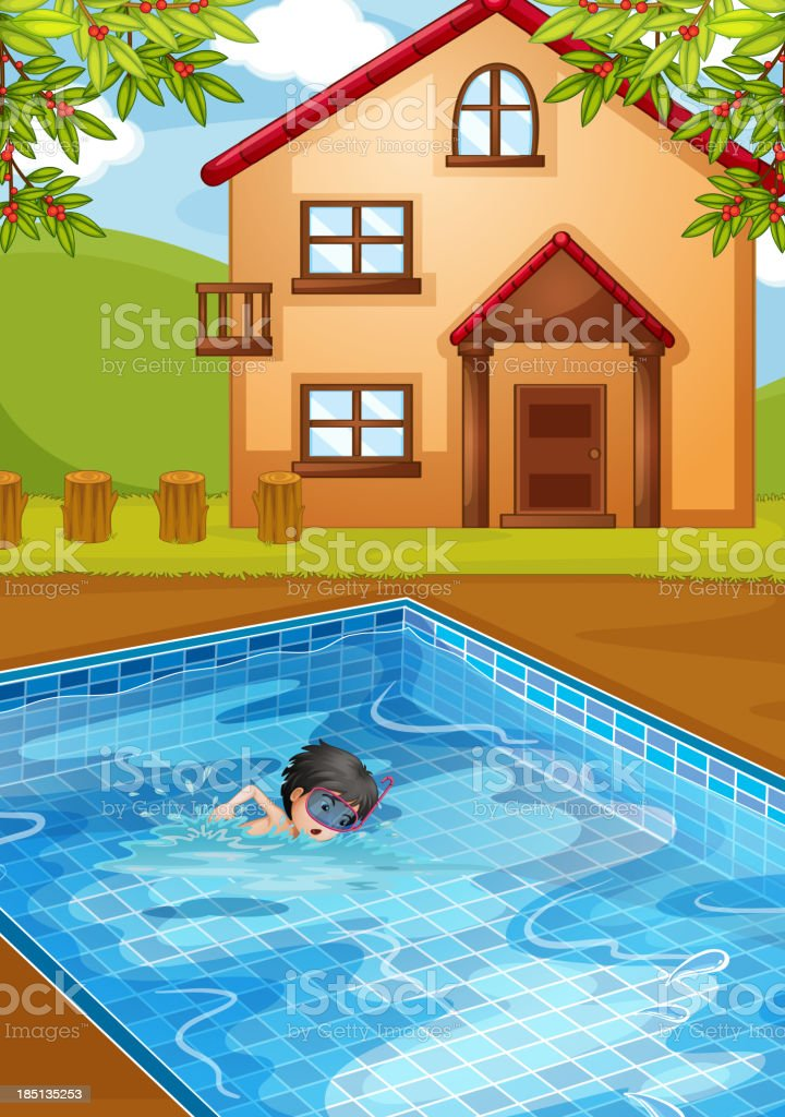 kid swimming at the pool in backyard royalty-free stock vector art