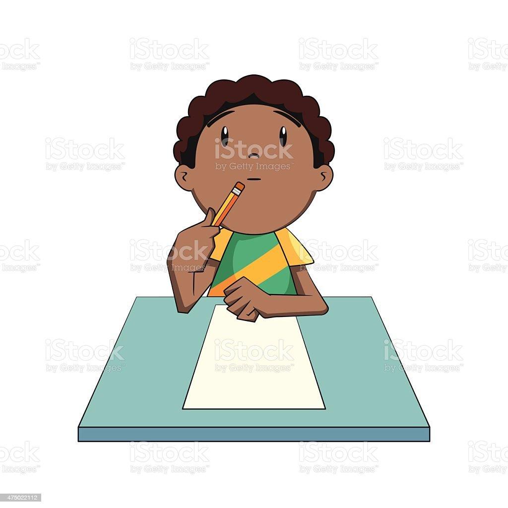 Kid thinking, looking up vector art illustration