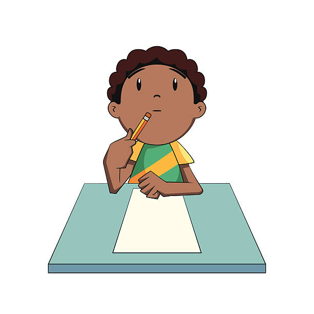 kid thinking, looking up - cartoon kids stock illustrations, clip art, cartoons, & icons