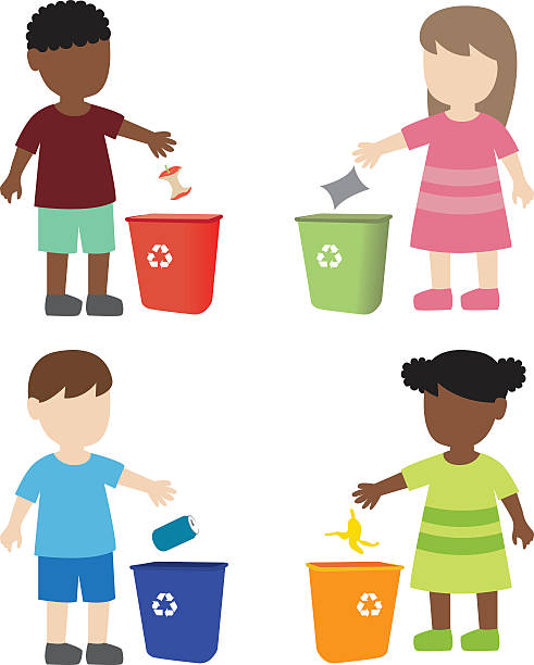 kid throwing garbage in the trash bin - child throwing garbage stock illustrations, clip art, cartoons, & icons