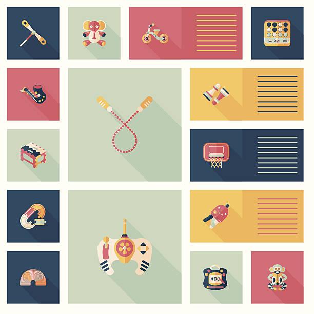 kind spielzeug flach ui hintergrund, eps10 - puppenkurse stock-grafiken, -clipart, -cartoons und -symbole