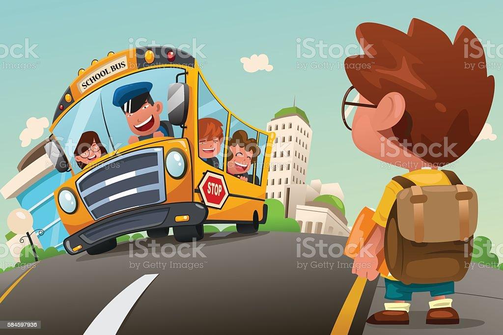 Kid Waiting at a Bus Stop - ilustración de arte vectorial