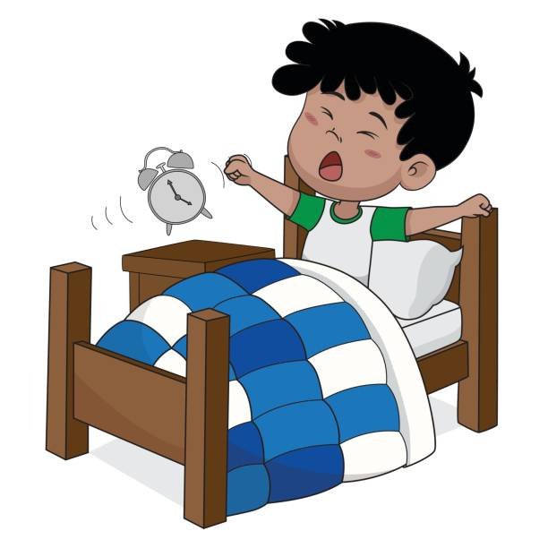 Royalty Free Wake Up Asian Kid Clip Art Vector Images