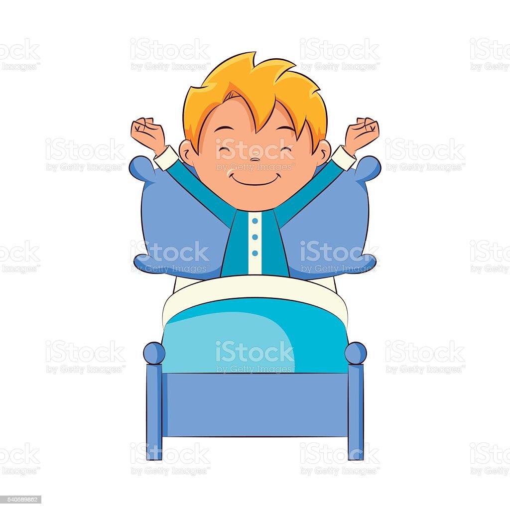 Kid waking up vector art illustration