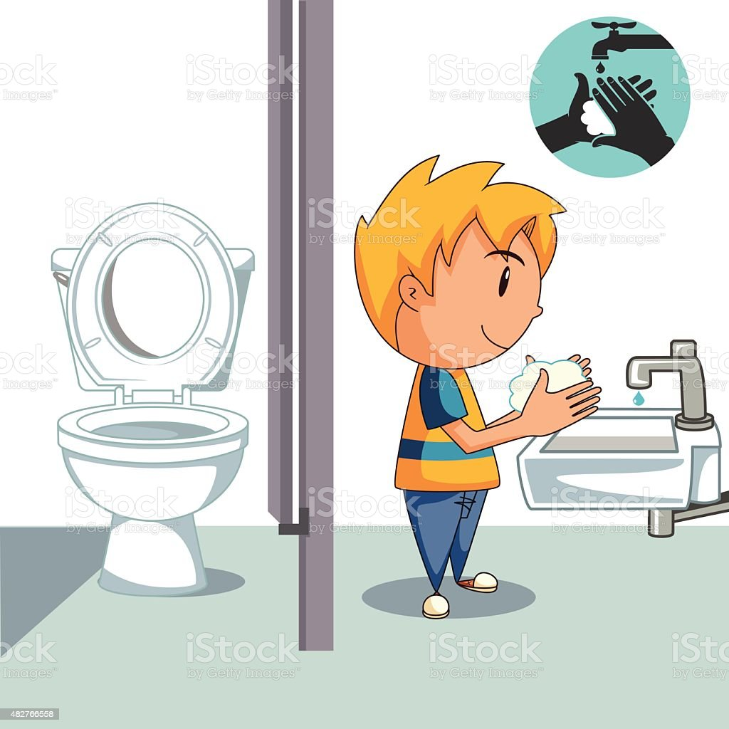 Cartoon Pictures Of Bathrooms: Kid Washing Hands Bathroom Stock Vector Art & More Images